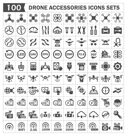 gps: Toy aircraft and accessories icons sets. Illustration