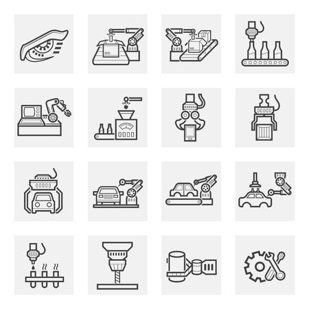 industrial belt: Robot icon sets.