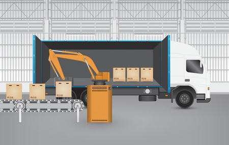 warehouse building: Robot working with conveyor belt and truck inside factory.