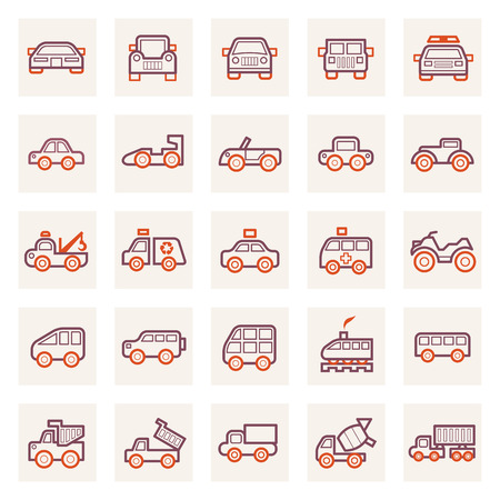 Vehicle icons sets. Vector