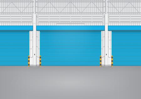 innen: Illustration der Ausl�ser T�r innerhalb der Fabrik, blaue Farbe. Illustration