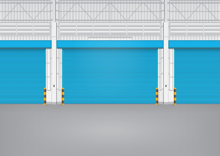 siding: Illustration of shutter door inside factory, blue color.