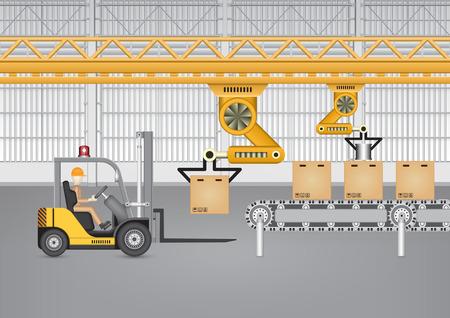 Robot working with conveyor belt and forklift inside factory. Illustration