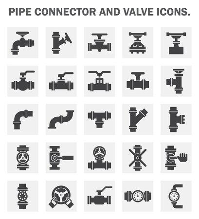 symbole chimique: connecteur du tuyau et des ic�nes de la vanne. Banque d'images