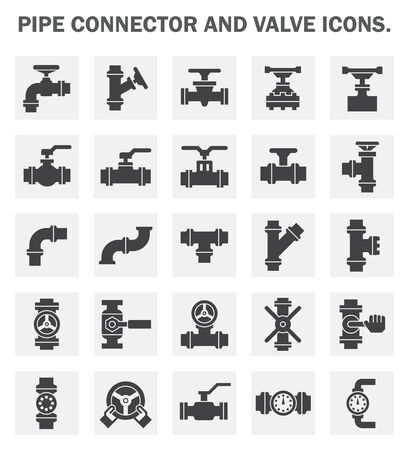 steel: Pipe connector and valve icons. Stock Photo