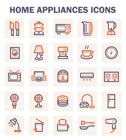 microwave antenna: Home appliance icons sets.