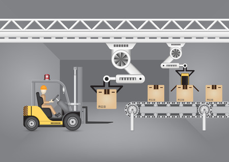 Forklift working with robot with dark background.