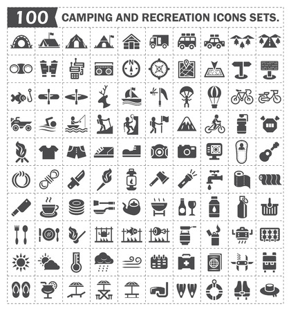 outdoor activities: Camping and recreation icons sets.