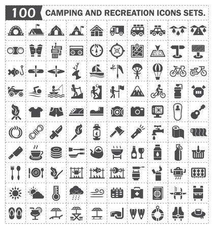 lazer: Parques de campismo e recreação ícones conjuntos. Ilustração