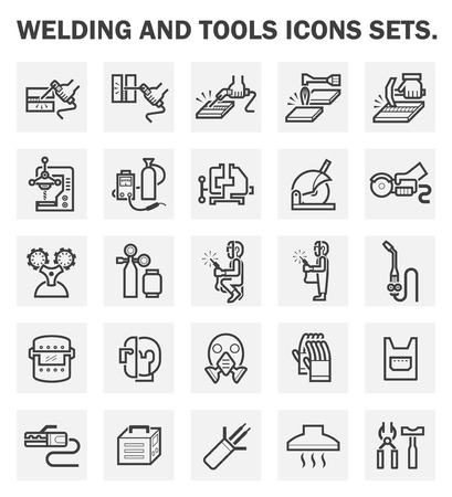 mask protection: Welding and tools icons sets. Illustration