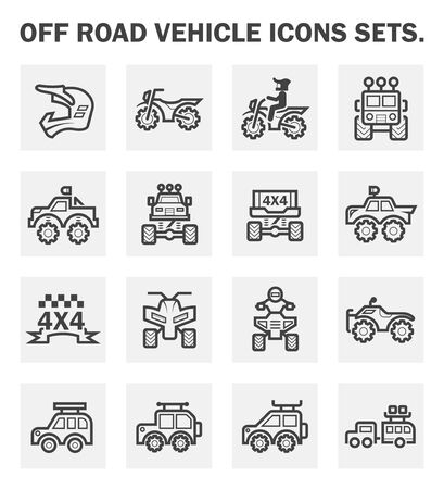 off road vehicle: Off road vehicle icons sets. Stock Photo
