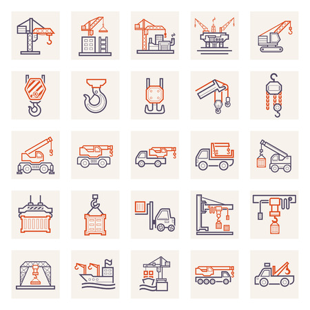 overhead crane: Crane icons sets. Stock Photo