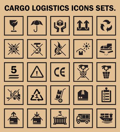 handle: Cargo logistics icons sets.