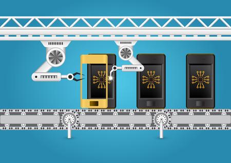 Robot het werken met mobiele telefoon in de fabriek.