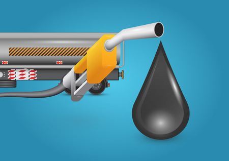 nozzle: Oil nozzle and truck with blue background. Illustration