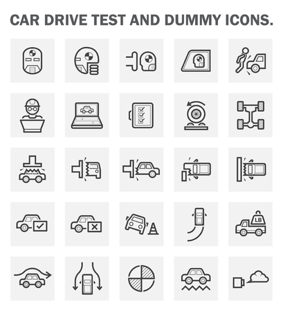 automobile: Car drive test and dummy icons sets.