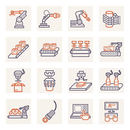 Robot and conveyor belt icons sets.