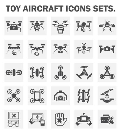 remote: Toy aircraft icons sets. Stock Photo