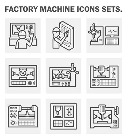 metal working: Factory machine icons sets.