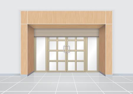 fachada: Puerta de obturación y la puerta de aluminio con el patrón de la madera.
