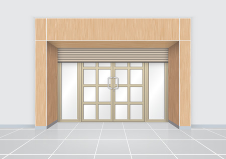 Shutter door and aluminium door with wood pattern.