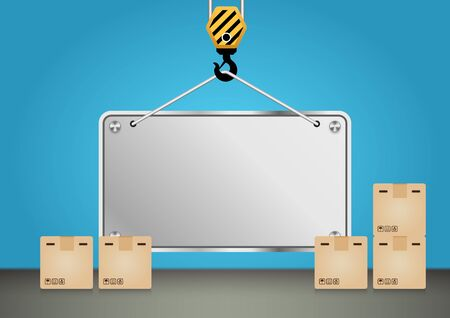 announcement: Crane hook and empty board with blue background.