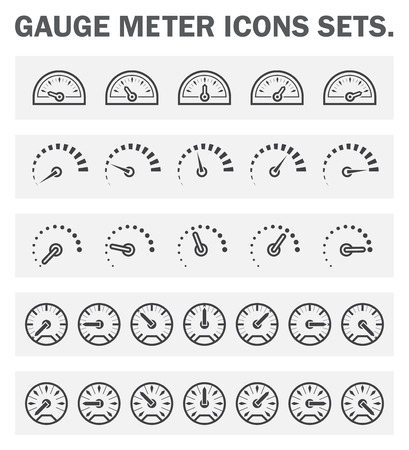 gas meter: Gauge meter icons sets.