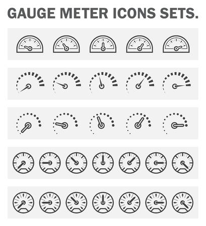 Peilen meter iconen sets.