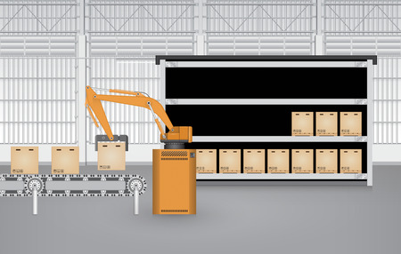 warehouse interior: Robot working with conveyor belt inside factory. Illustration