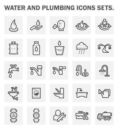 fontaneria: Agua y fontanería iconos conjuntos.