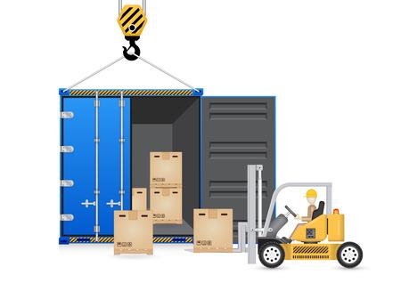 montacargas: Ilustrador de carretilla elevadora y contenedor de carga aislar sobre fondo blanco.
