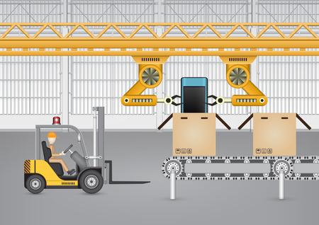 cinta transportadora: Robot trabaja con el teléfono móvil en la fábrica.