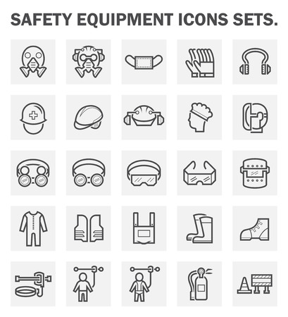 equipment: Safety equipment icons sets.