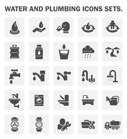 agua grifo: Agua y fontanería iconos conjuntos.