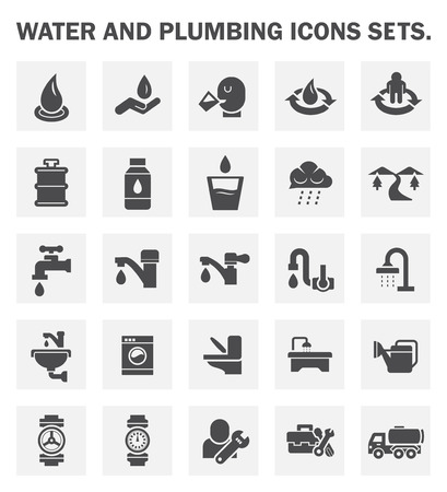 water tanks: Water and plumbing icons sets.