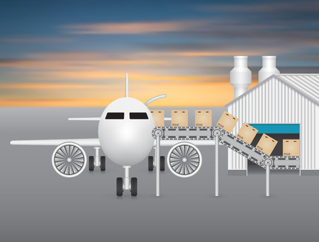 goods station: Plane working with transfer belt and factory. Illustration