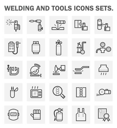 soldadura: Soldadura y herramientas iconos conjuntos.