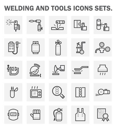 construction equipment: Welding and tools icons sets. Illustration