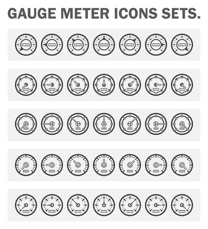 gas gauge: Gauge meter icons sets.