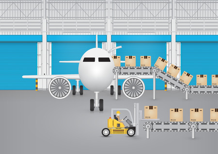 Forklift working with conveyor belt and plane inside factory.