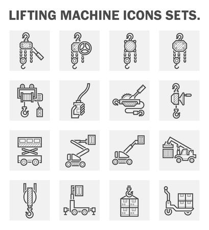 scissor: Lifting machine icons sets.