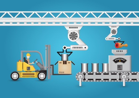 forklift: Robot working with conveyor belt and forklift.