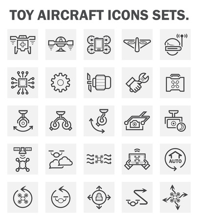 remote: Toy aircraft icons sets. Illustration