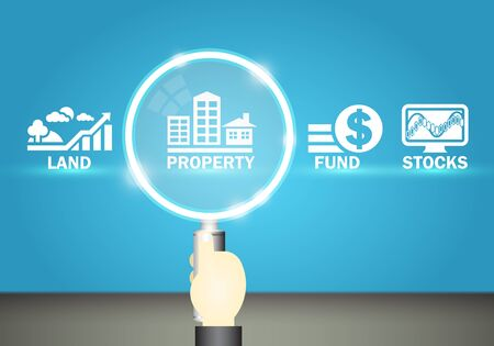 selection: Magnifier and investment marks on blue background.