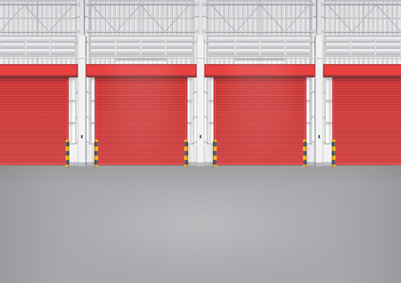 warehouse interior: Illustration of shutter door inside factory, red color.