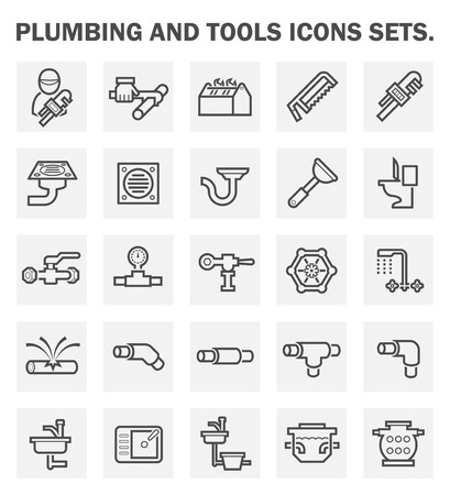 Sanitair en gereedschappen iconen sets.