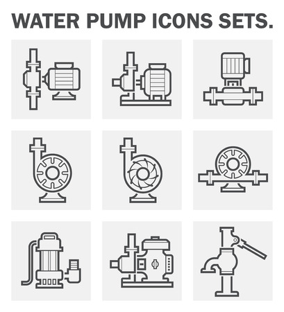 electric line: Water pump icons sets.