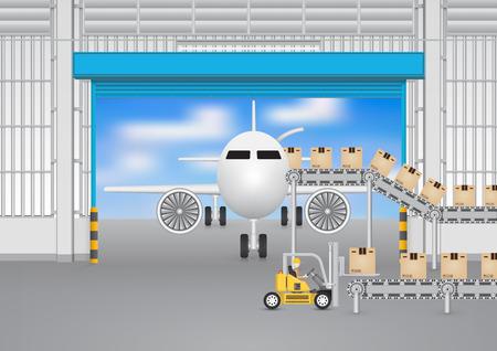 forklift: Forklift working with conveyor belt and plane inside factory.