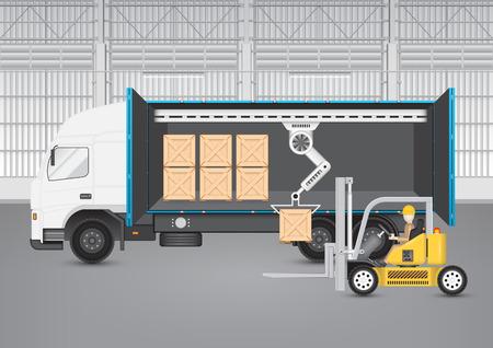 forklift: Forklift transfer wood crate into truck. Illustration