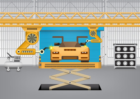 car factory: Robots working with car in factory. Illustration